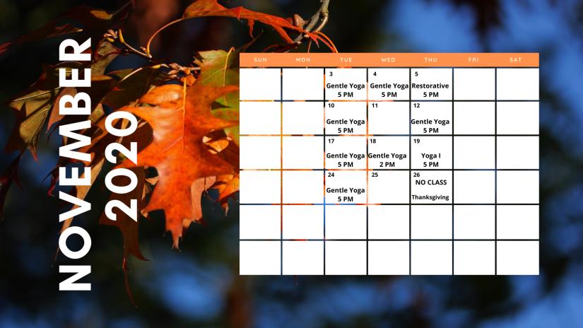 November Yoga Calendar