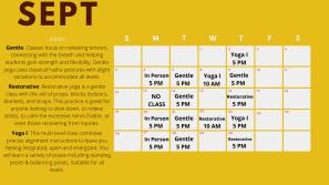 September Yoga Calendar